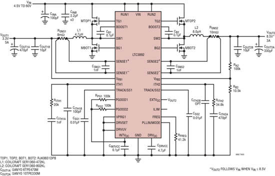 Figure 1: LTC3892 schematic with 4.5V to 60V input converted to 8.5V/3A and 3.3V/5A outputs