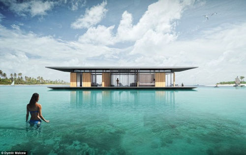 "An architect from Singapore designed a drifting house to enjoy the demure of ""people in the middle of the water""."
