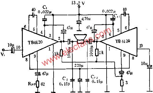 TB4420 audio power amplifier circuit wiring diagram