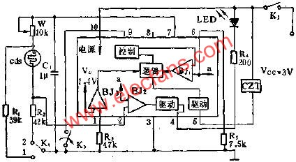 Application circuit diagram of SF1212 automatic exposure integrated circuit