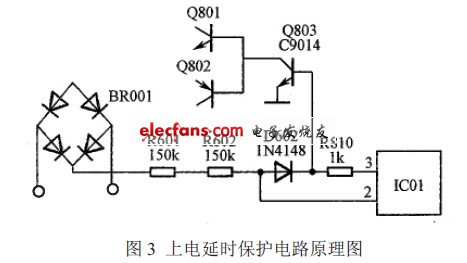 Power-on delay protection circuit schematic