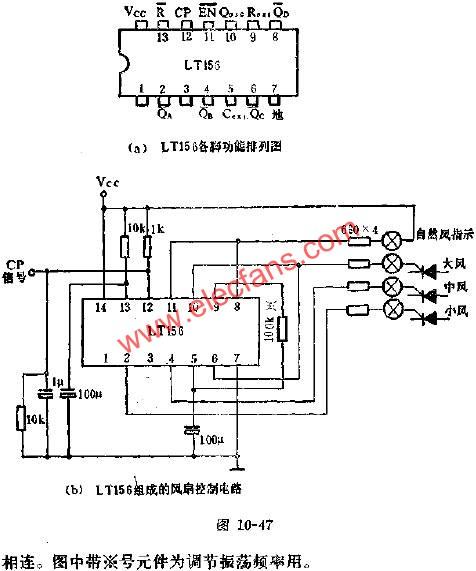 Application circuit diagram of LT156 timing control circuit