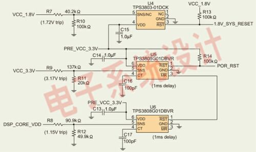 Figure 2: Rail voltage reset and voltage monitoring circuit.