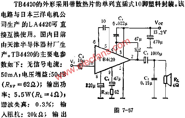 Application of TB4420 audio power amplifier circuit