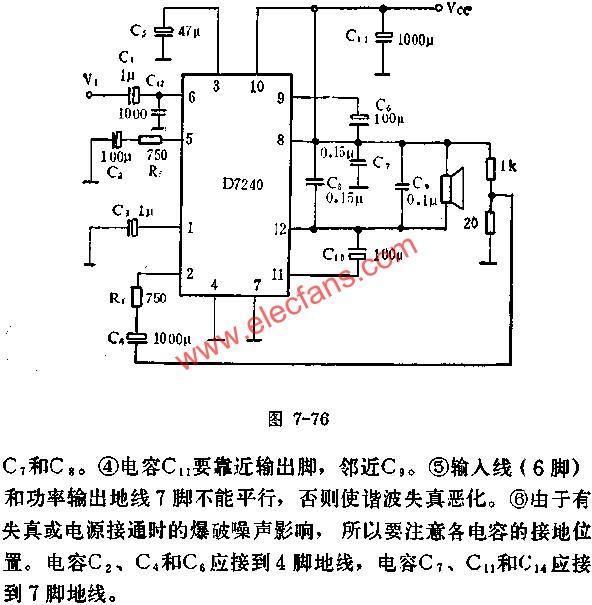 D7240 for BTL Amplifier Circuit Application