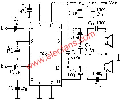 D7240 audio power amplifier circuit for stereo power amplification applications