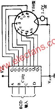 C302 eight-segment font decoder drives 10V fluorescent digital tube circuit diagram