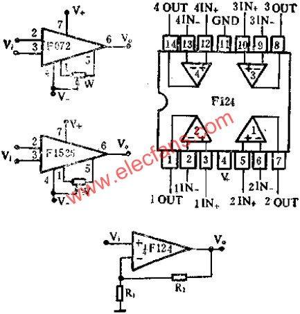 Typical wiring diagram for the op amp