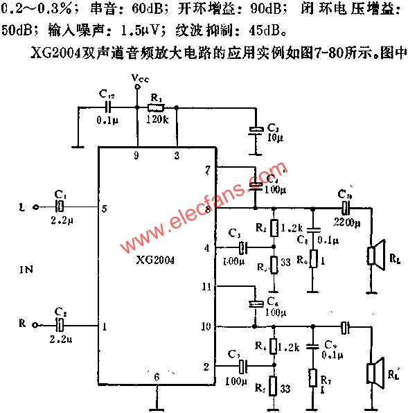 Application principle of XG2004 two-channel audio power amplifier circuit