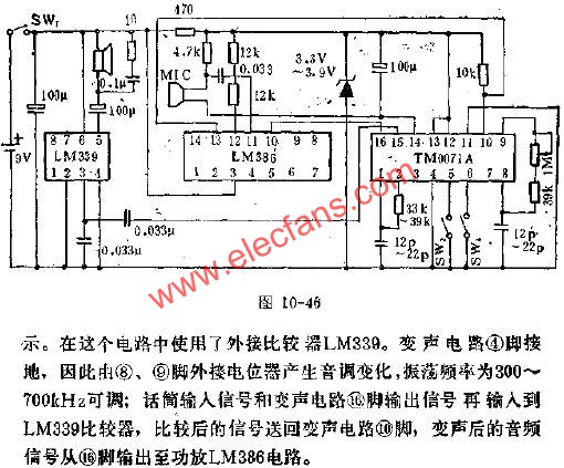 TM0071A for resistive voice-changing circuit diagram