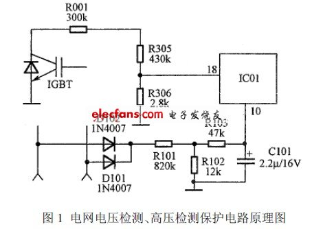 Power grid voltage detection, high voltage detection and protection circuit schematic