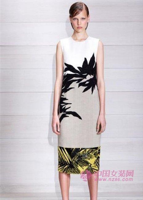 Jason Wu将树叶纹印花放置在连衣背心裙上,简约的印花面料配合流畅利落的裁剪显得大气而优雅。