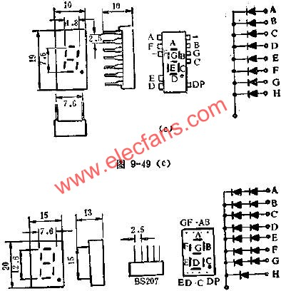 Circuit diagram of the outer lead of LED digital tube