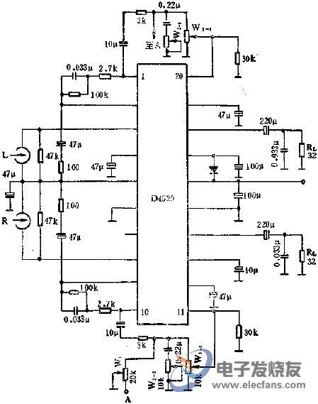 Application of D4520 Stereo Headphone Amplifier Circuit