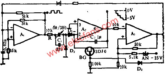 Operational amplifiers form a staircase wave generator circuit diagram