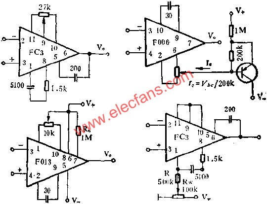 Adjusting the output zero of the integrated op amp