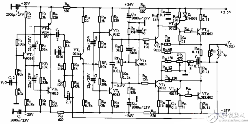The simplest single differential OCL power amplifier circuit diagram (four single differential OCL ...