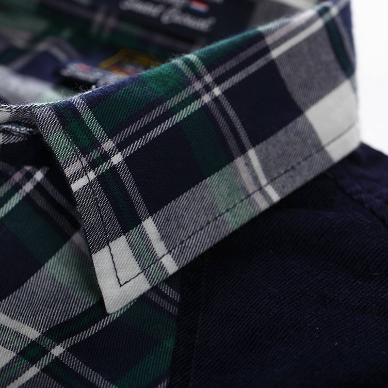 Excellent shark & men's clothing wholesale autumn and winter new elegant color matching sanding business casual plaid shirt tide male casual plaid fashion men's long-sleeved shirt yzmm-001