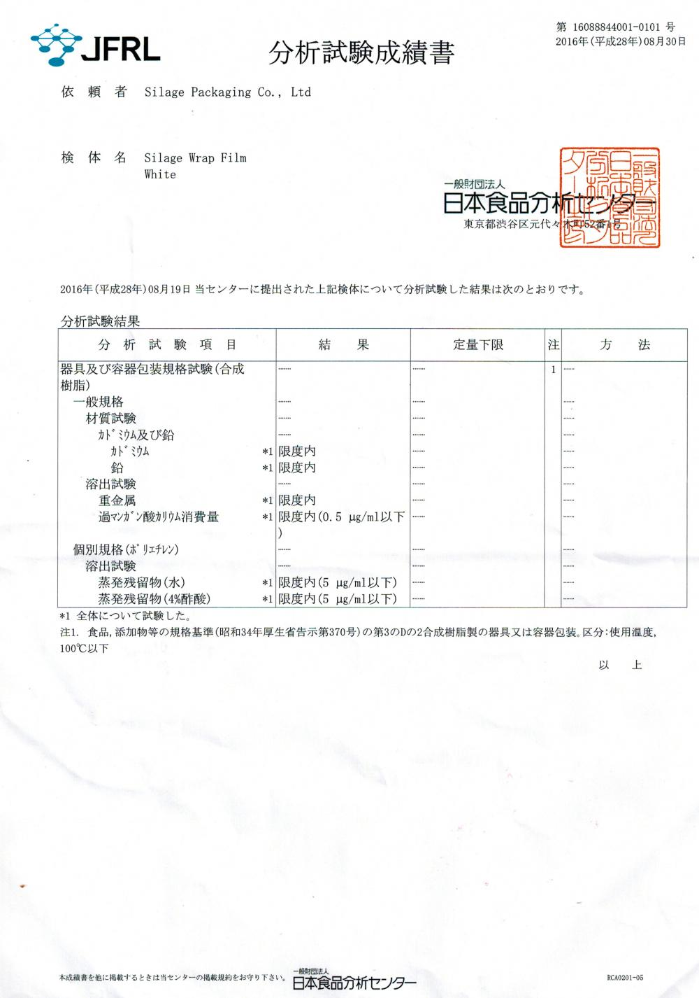 Test Report in Japan Food Grade