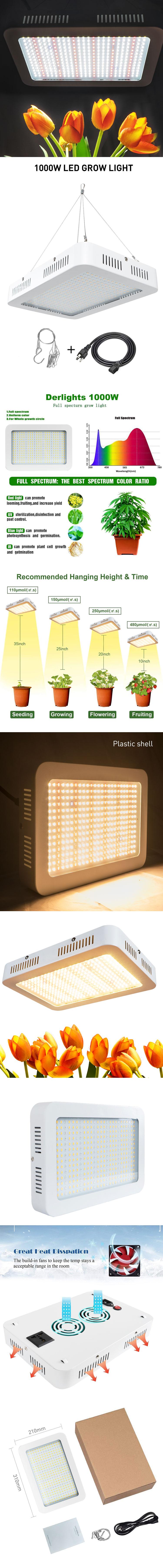 2020 La meilleure vente des lumières LED 1000w a mené élèvent la lumière pour le jardin d'intérieur