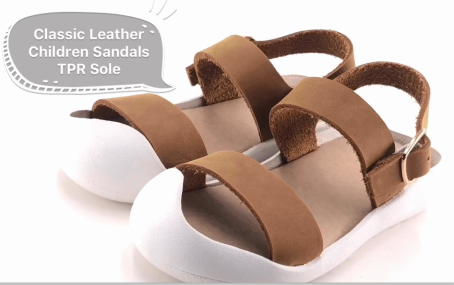 Leather Children Sandals TPR Outsole