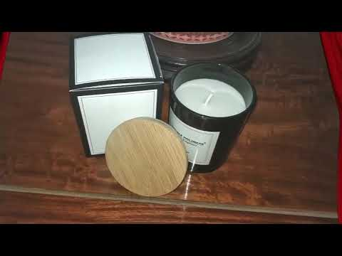 High quality aroma soy wax candle in black glass holder with bamboo lid