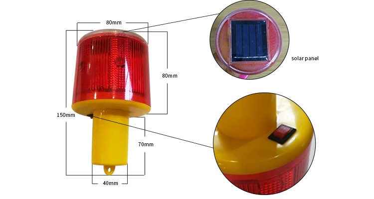 Solar LED warning road traffic light
