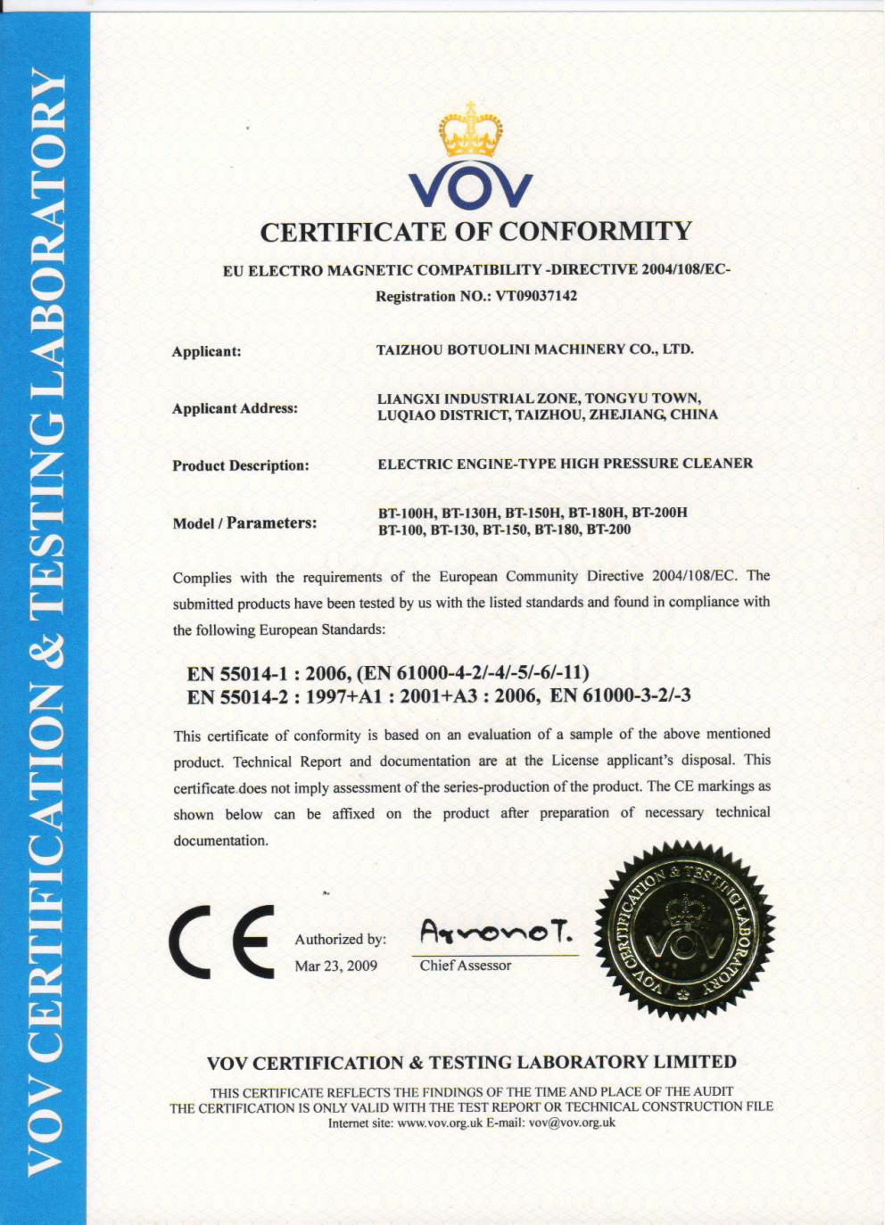 CE Certificate of High Pressure Washer