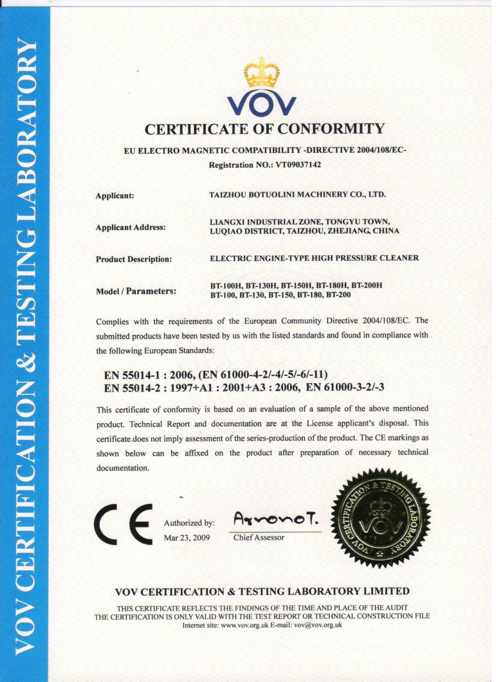 CE Certificate of High Pressure Washer