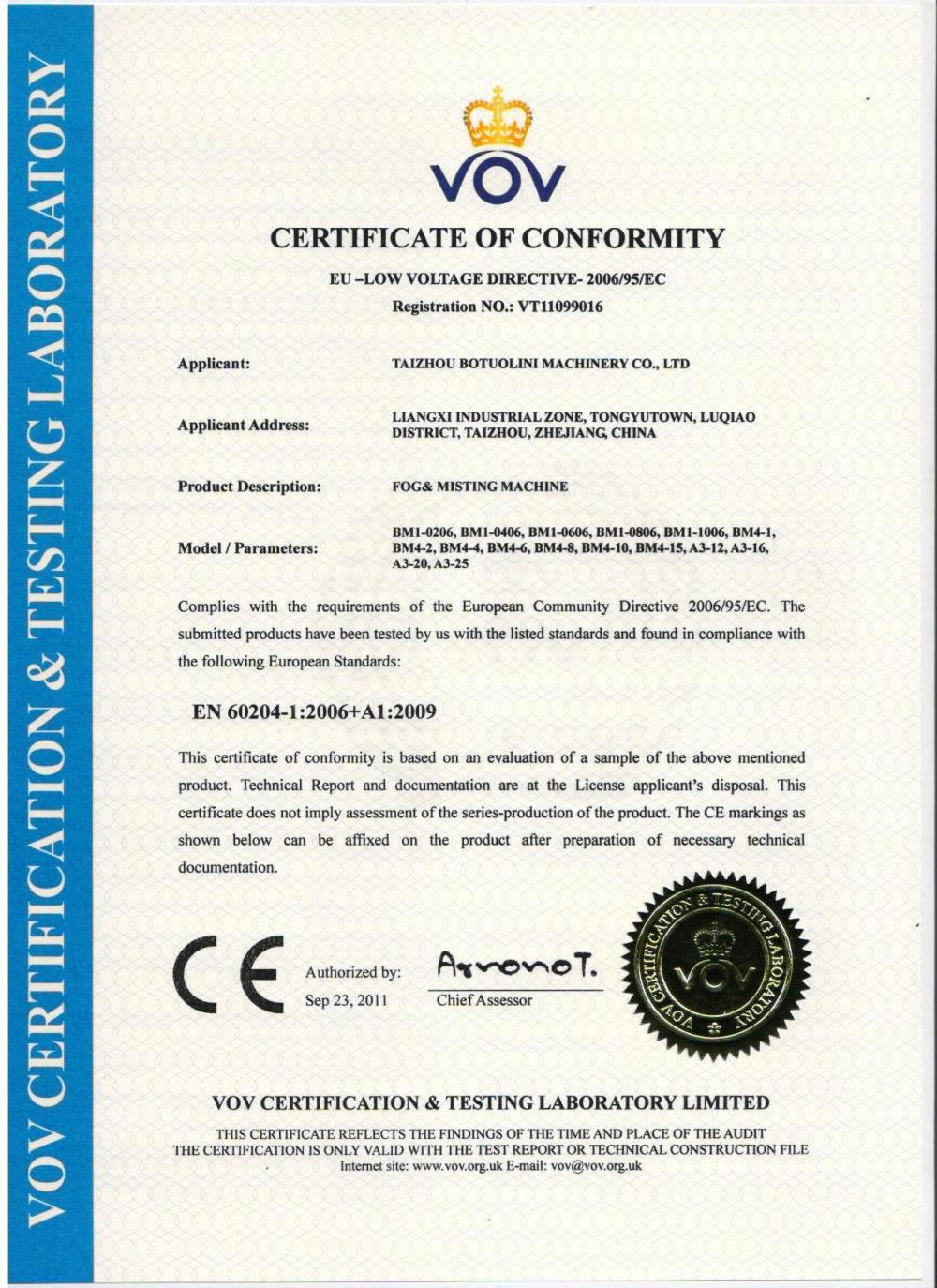 Fogging Machine CE Certificate