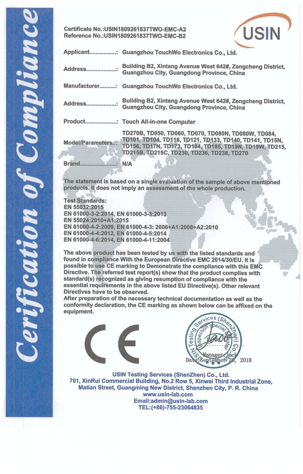 Certification of compliance