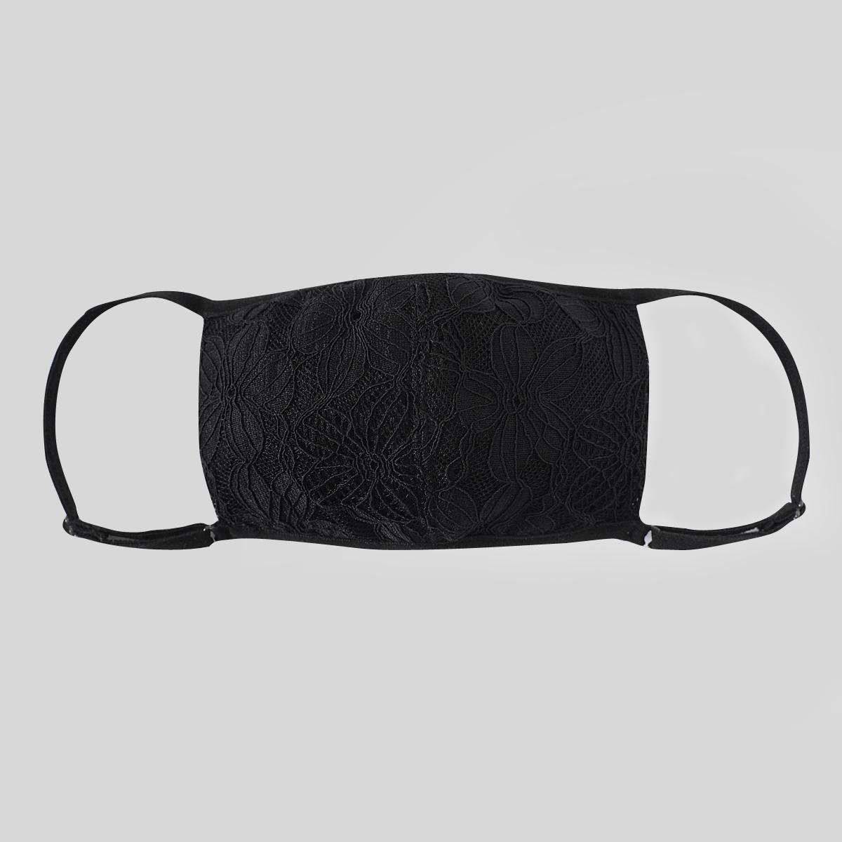 Neo Design Knit Weave Seda Mistura com tecido de renda Máscara facial 4 camadas chiques revestimentos faciais Máscara facial preta e branca