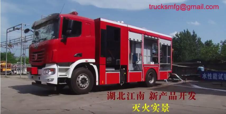 The video of the fire rescue scene of our compressed air foam fire engine truck