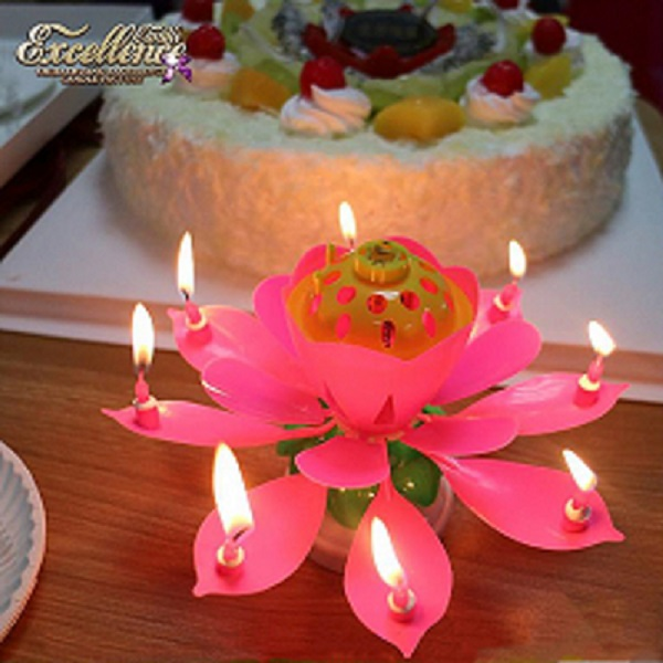 birthday flower louts candle