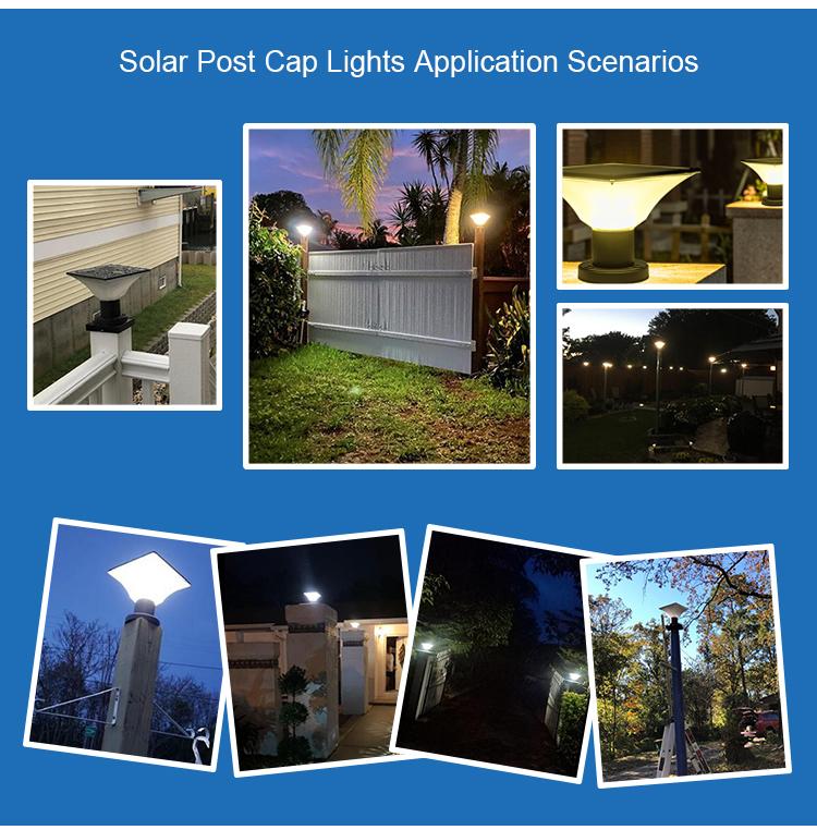 IP65 waterproof outdoor high lumen solar gate post pillar light led