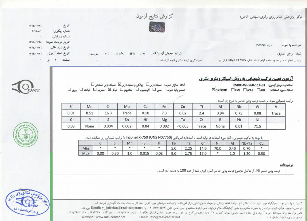 Inconel X-750 testing report from Iran