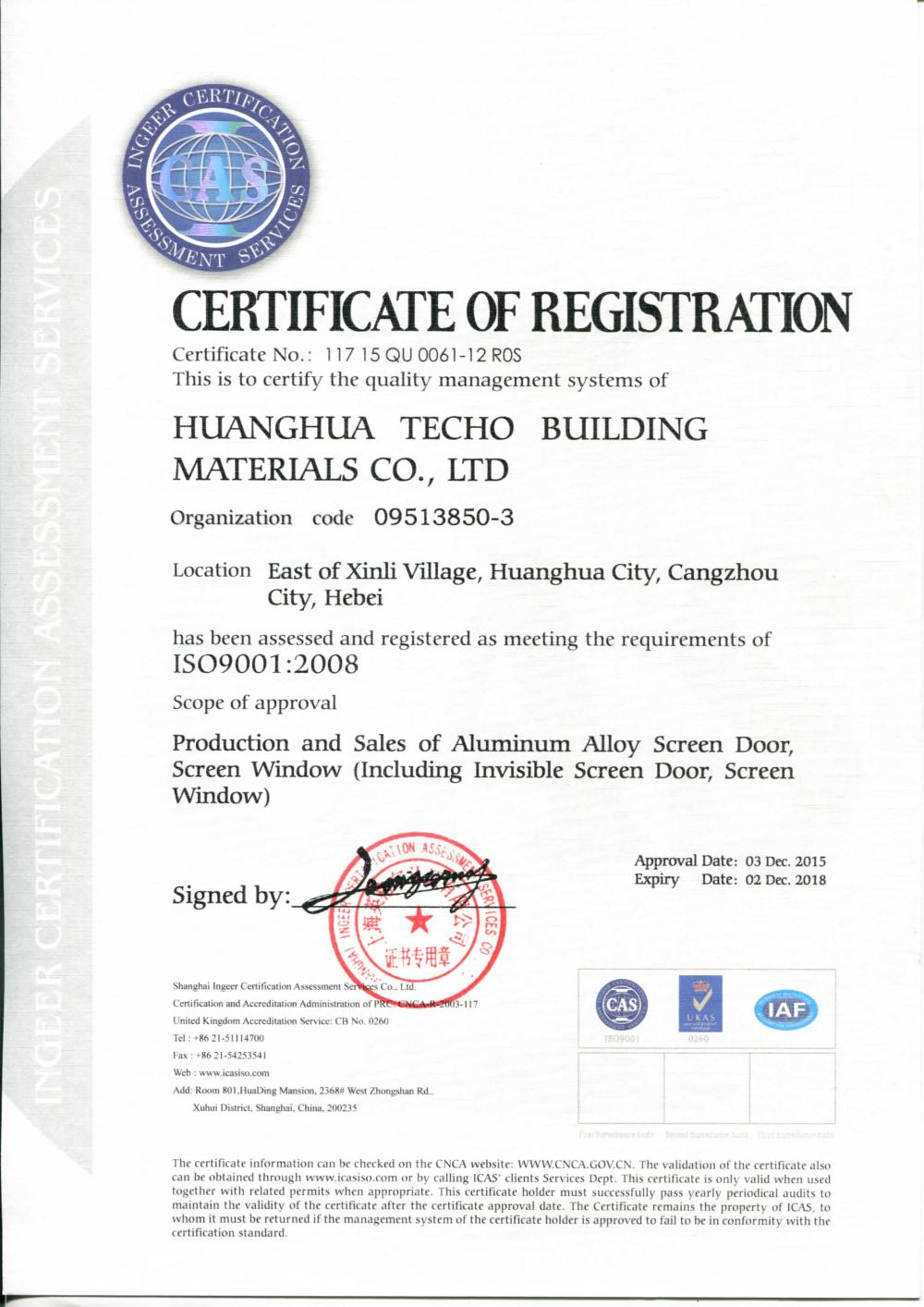Qualilty management systems ISO9001:2008