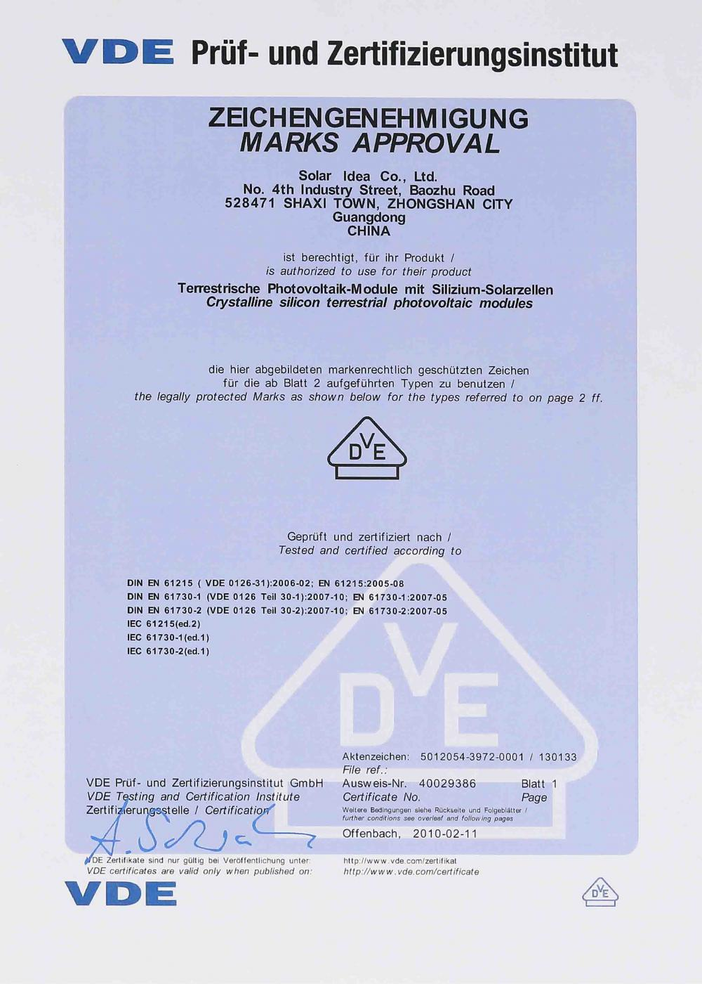 VDE safety certificate