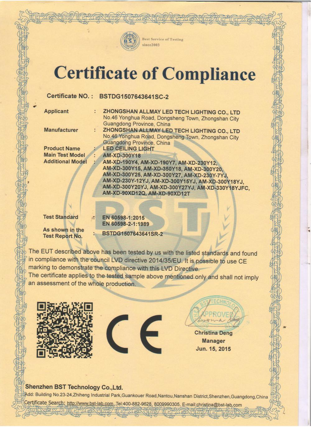 CE LVD Certificate of LED Ceiling light