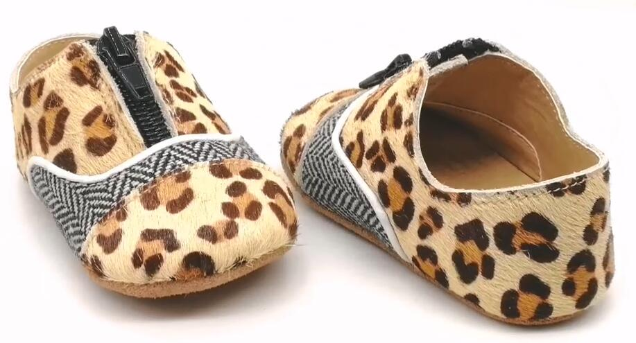 Leather Mo-Hair Leopard Baby Casual Shoes