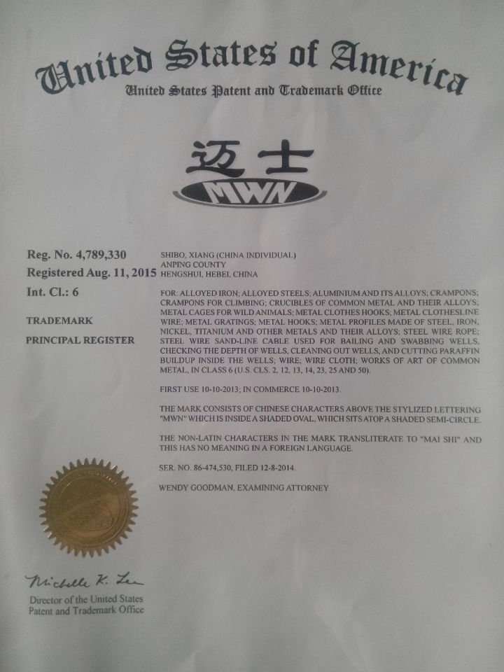 Trade Mark Certificate of MWN