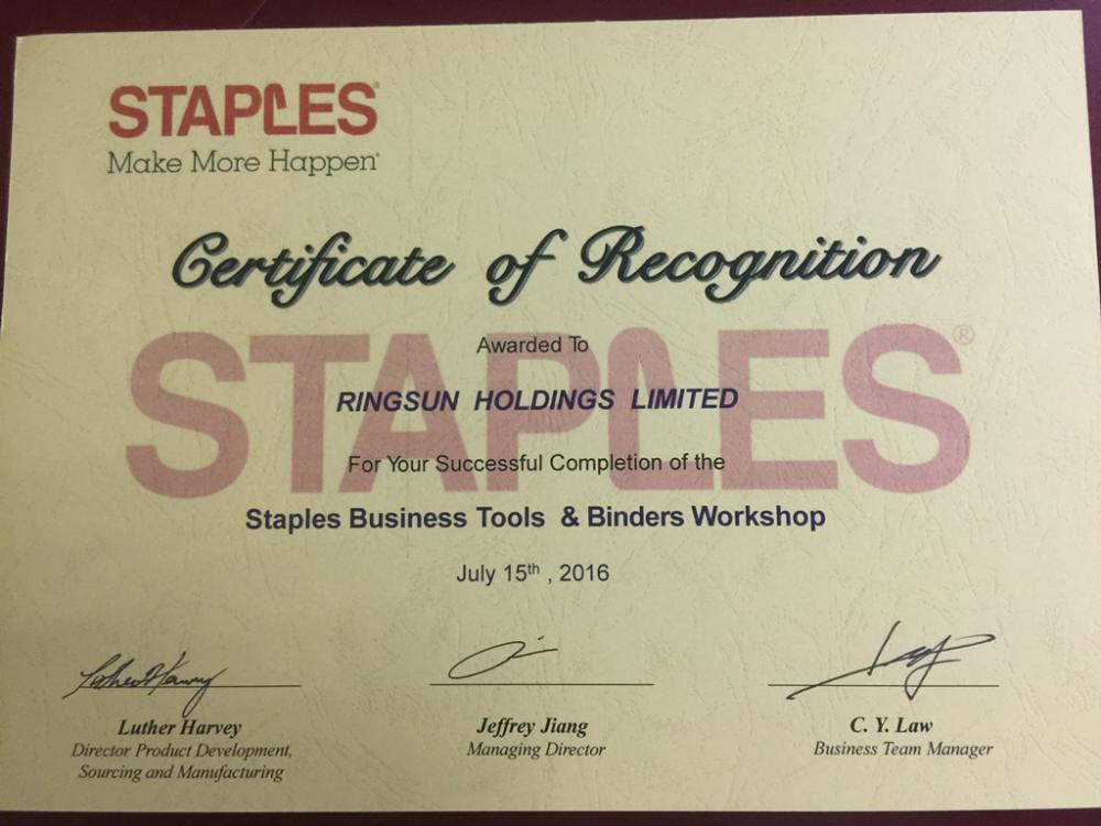 Staples Certificate for supplier