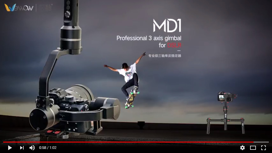 MD1 professional 3 axis gimbal for DSLR use test
