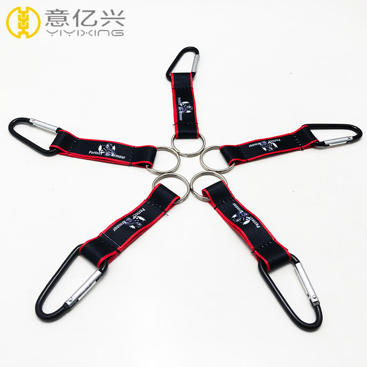 Wholesale D shaped aluminum carabiner keyring with strap