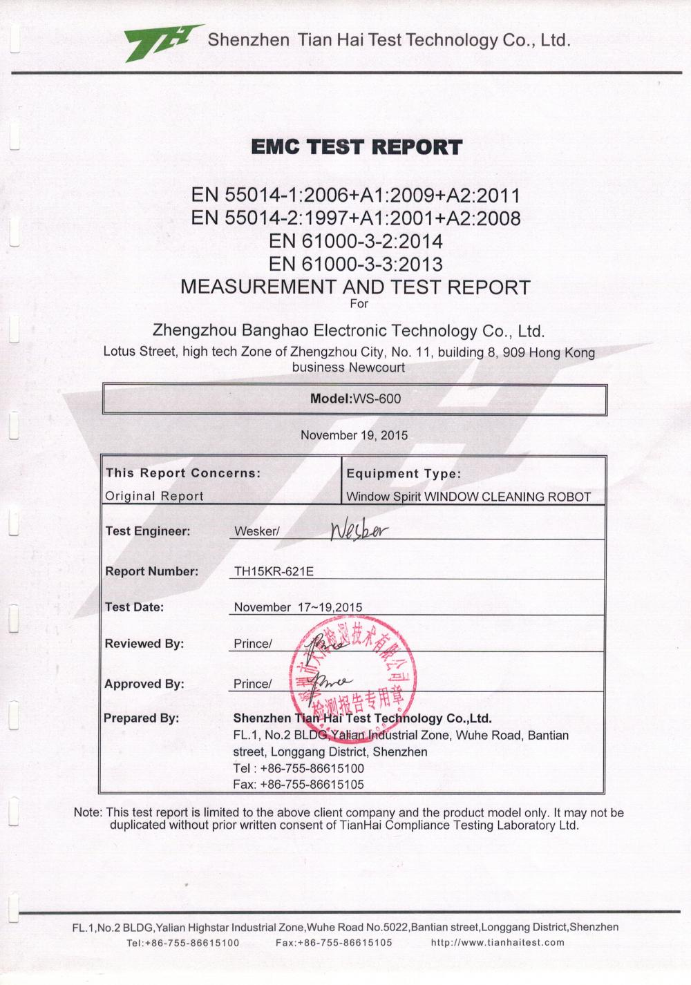 WS600 EMC TEST REPORT