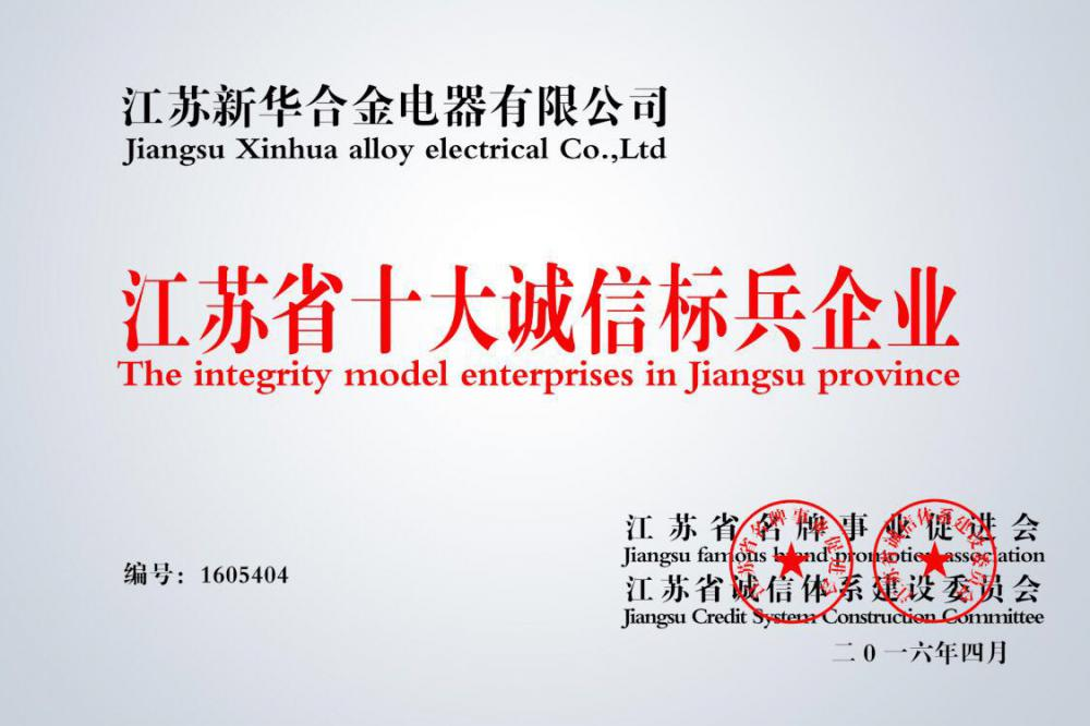 the integrity model enterprises in Jiangsu province