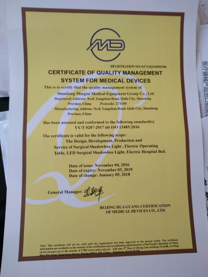 certificate of quality management system for medical devices