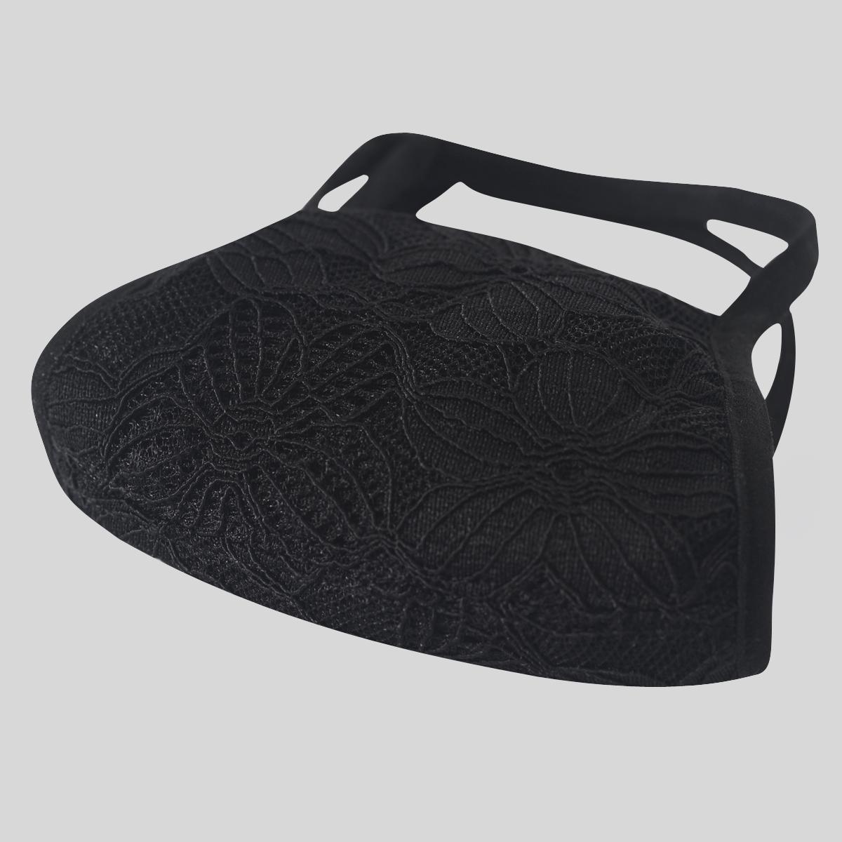 Neo Design Knit Weave Seda Mistura com tecido de renda Máscara Facial 4 camadas Chiques Faciais Máscara Preto e Branco