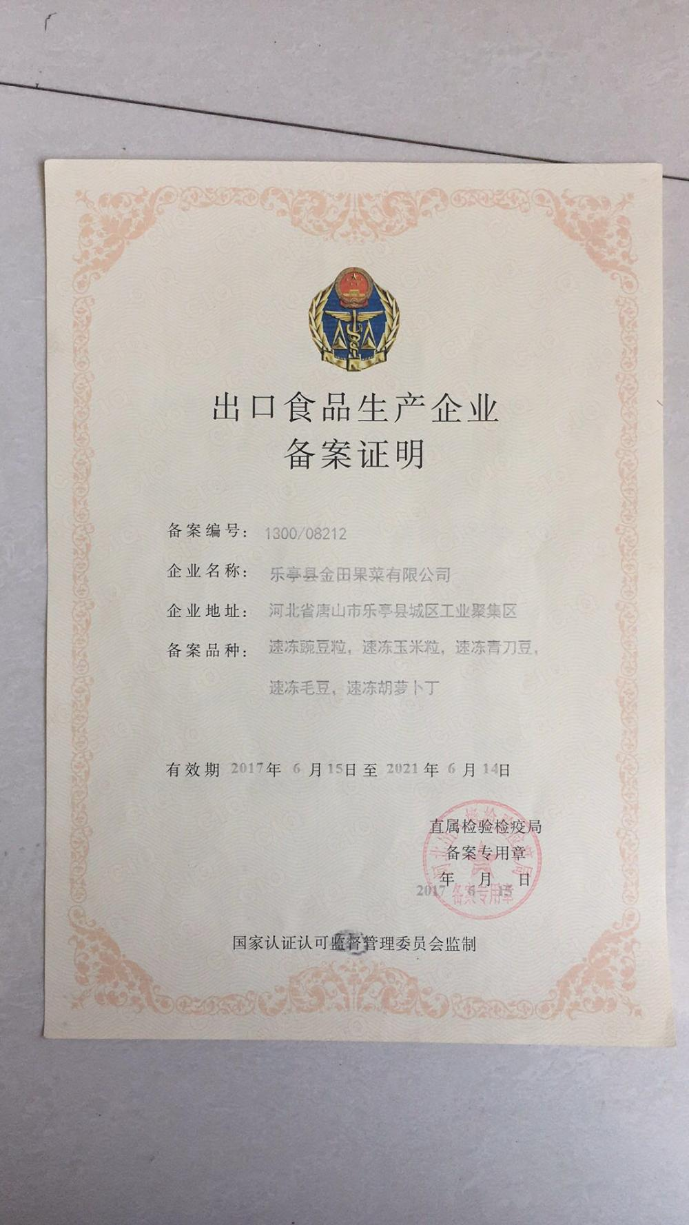 Certificate of record for export food production enterprises