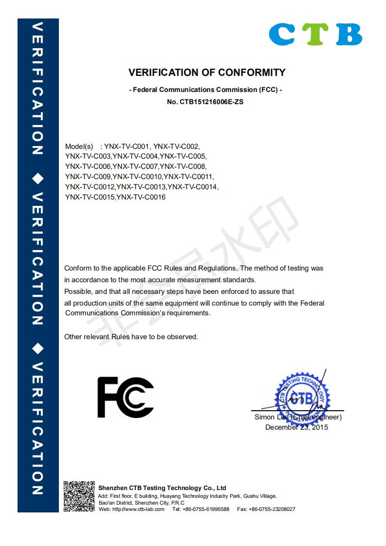 TV FCC Certificate 2